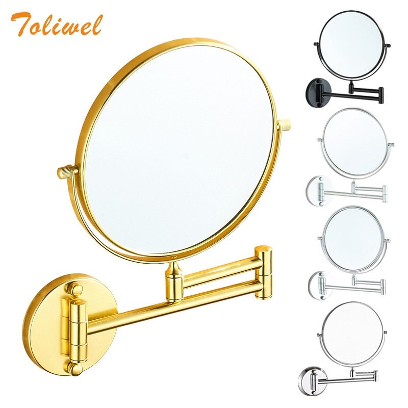 bathroom mirror antique red copper double side make up mirror dressing room round magnifying cosmetic mirror wall mounted nba631 8 Round Magnifying Mirror Double Side 3x to 1x  Bathroom Make Up Mirror Wall Mount 3D71921