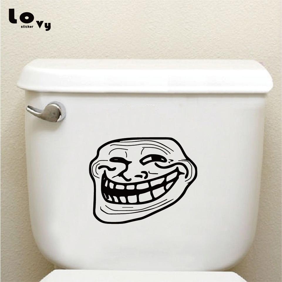 Funny Cartoon Troll Face Vinyl Wall Sticker Bathroom Toilet Stickers Home Decoration Accessories   TS035