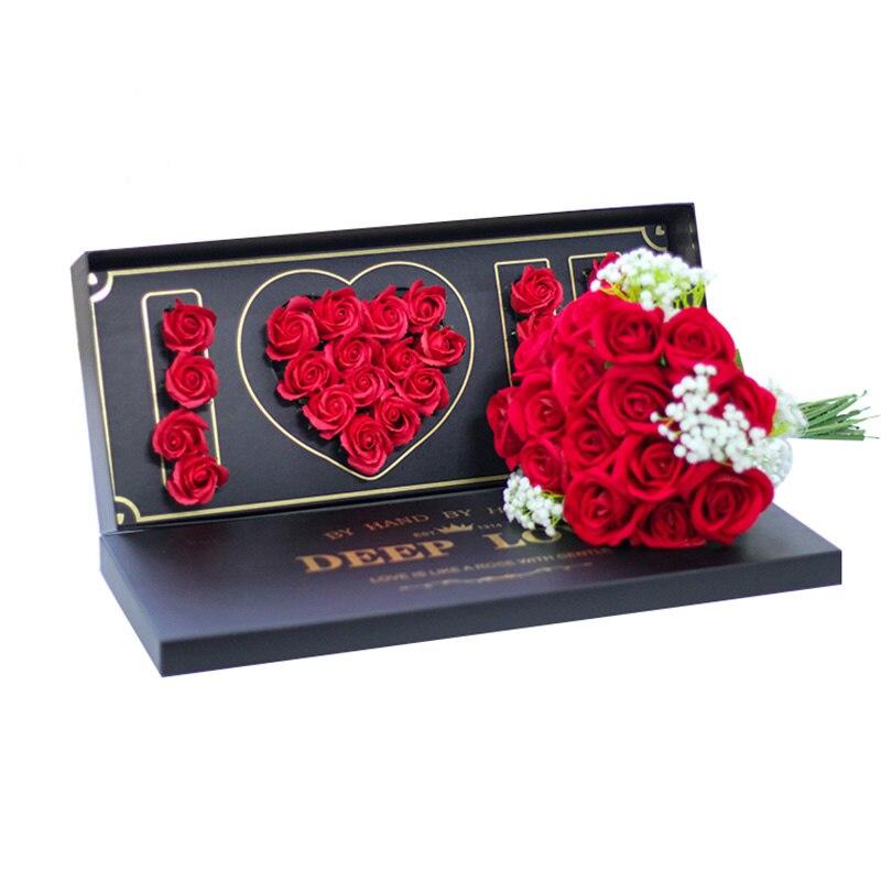 Caja Rectangular de flores con ranura para barro de flores, nueva caja de empaque de ramo superior del Día de San Valentín, suministro de floristería con patrón I Love U