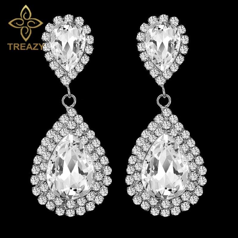 Pendientes largos de lágrima de diamante de imitación de cristal de Color plateado bonito para fiesta de boda joyería para mujer