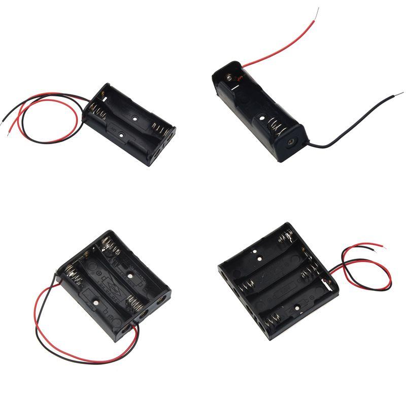 Tamaño AA caja de almacenamiento de pilas lleva con 1 2 3 4 ranuras caja de Tamaño AA diy batería Banco titular caja circuito