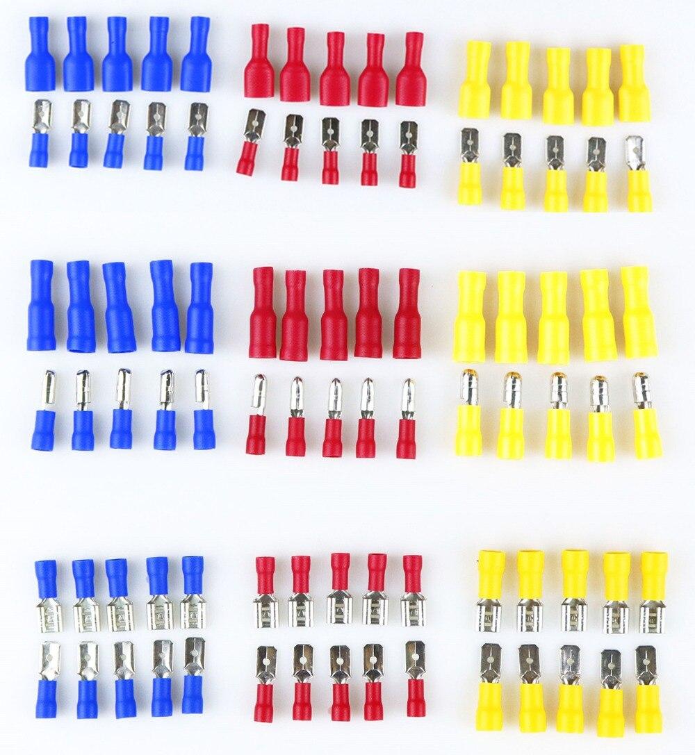 Conector de junta de pala aislante macho hembra 10 uds, conectores de virola, conector de Cable