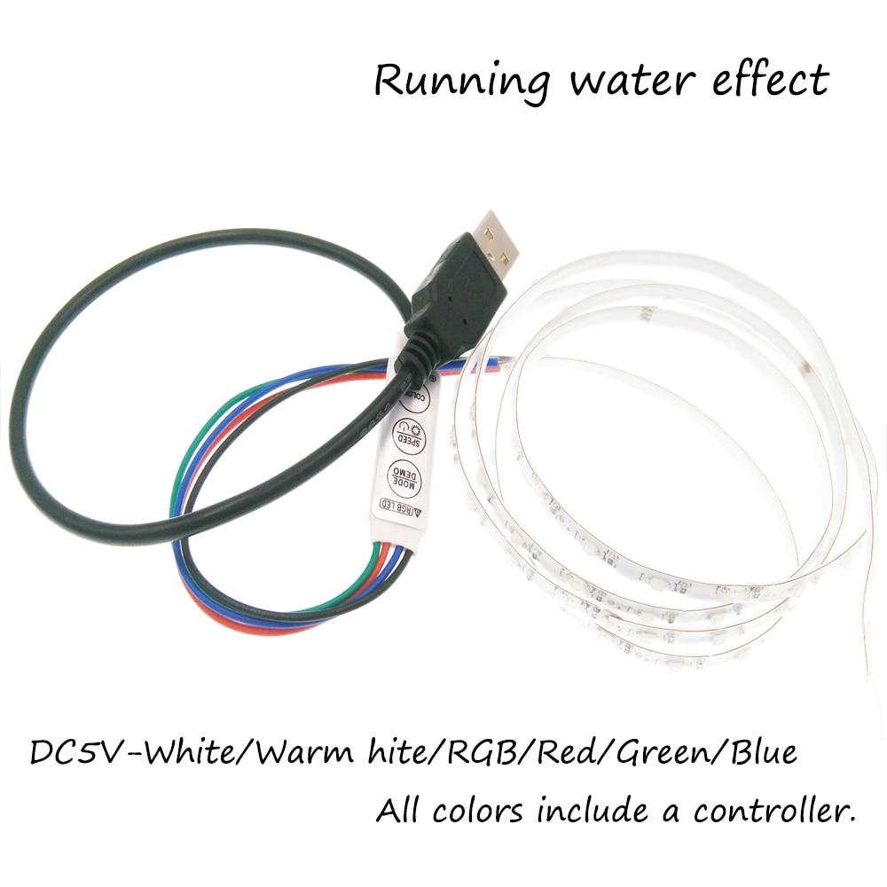 5 فولت شريط ليد مزود بيو إس بي ضوء SMD1206 1 متر تشغيل المياه تأثير مرنة LED شريط أضواء التلفزيون خلفية/سيارة دراجة نموذج الديكور
