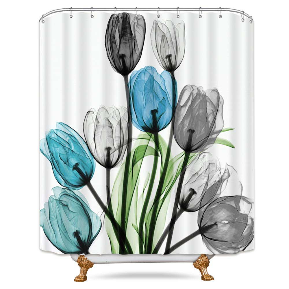 Teal tulipán flor ducha cortina Floral turquesa acuarela decoración baño tela Set de poliéster impermeable