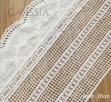 1 yarda de ancho: 26cm diseño de flores Vintage tela de red de encaje para la ropa color marfil algodón encaje recortes de tela (ss-4926)