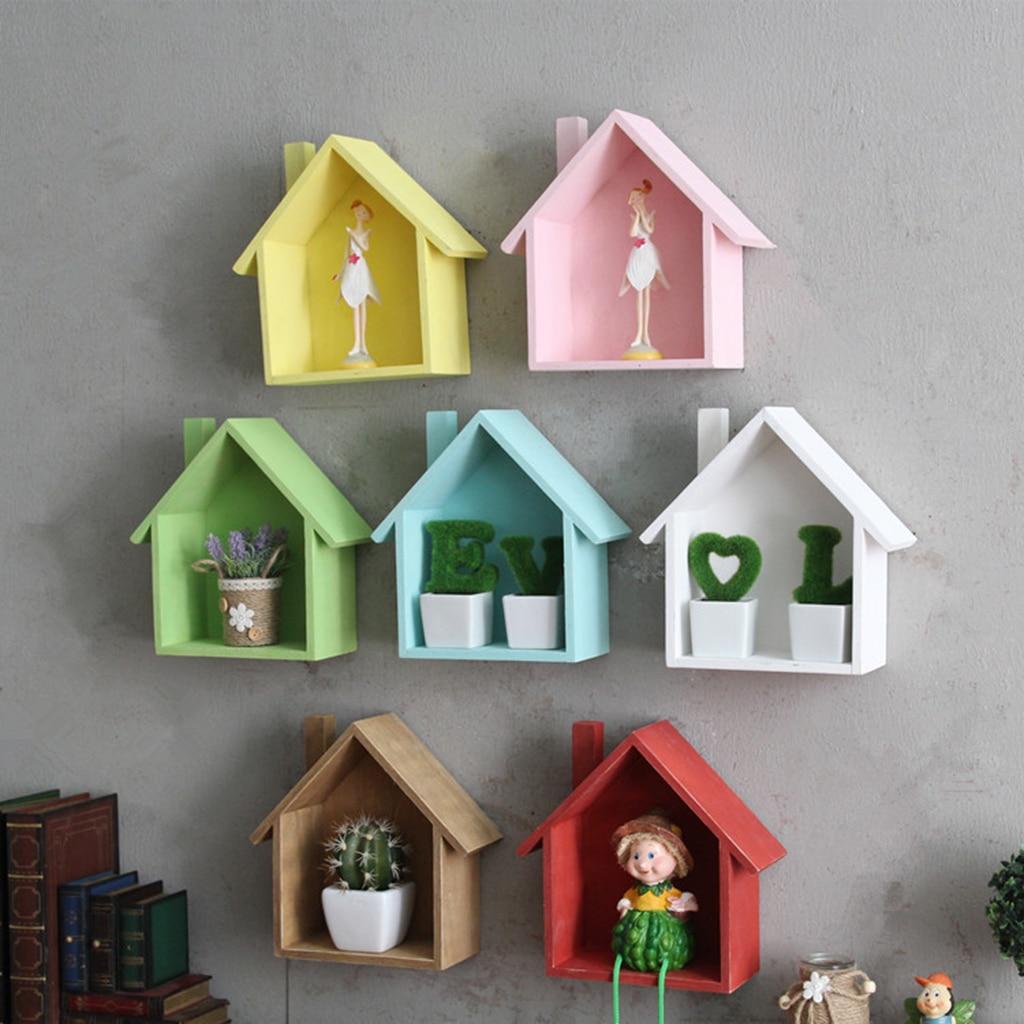 House Shape Wood Wall Shelf Display Hanging Shelving No Finish for Bedroom Kids' Room Decorations
