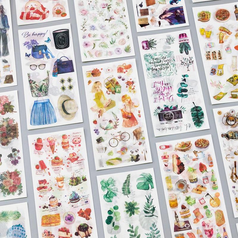 3-lenzuola-pacchetto-di-viaggio-e-cibo-vintage-decorativo-washi-adesivi-scrapbooking-etichetta-bastone-diario-di-cancelleria-album-di-adesivi