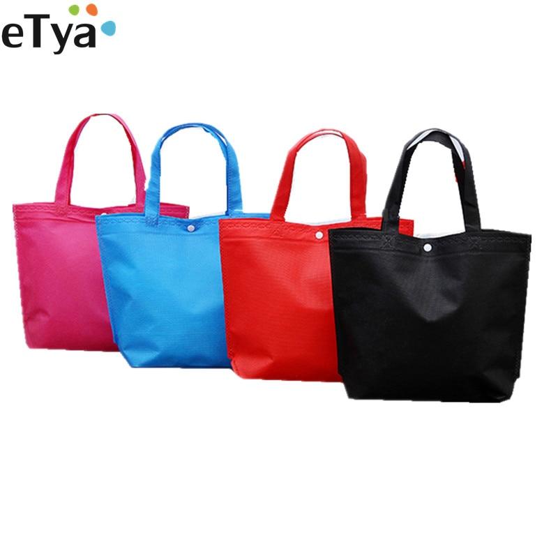 eTya Folding Tote Shopping Bag Women Men Casual Eco Reusable Shopping Pouch Case Travel Solid Handbag shopper bags