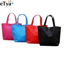 ETya pliant fourre-tout sac à provisions femmes hommes décontracté Eco réutilisable sac à provisions étui voyage solide sac à main shopper sacs