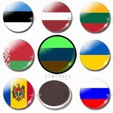 Aimants de réfrigérateur lumineux en verre   30 MM, drapeau de lestonie, de la lettonie, de la lituanie, de la russie, de la mollet