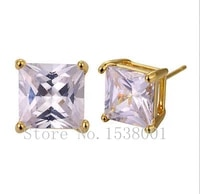 2 0ct unisex square genuine yellow gold filled womens mens stud earrings