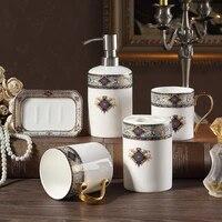 bohemian blue bathroom five piece european bone china wash kit bathroom supplies bathroom mug cup set lo724328