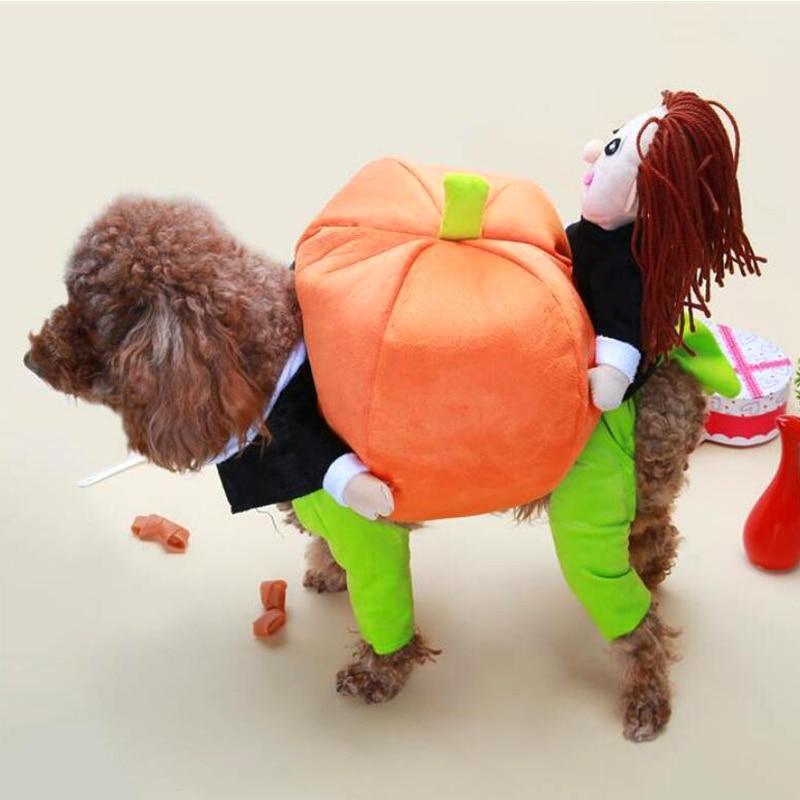 AHUAPET divertido ropa para mascotas abrigo de Mascota para perro chaqueta de perro ropa de chaqueta de Jersey cachorro de Halloween traje de levantar la calabaza S-XXL E