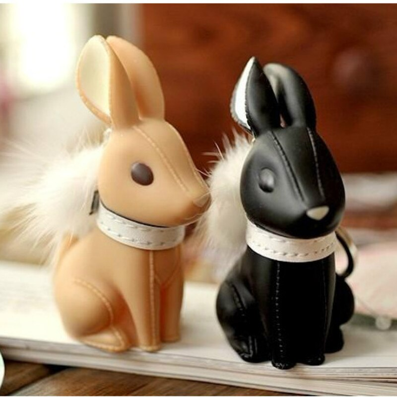 MissXiang New diy Creative Model Dog Keychain Pompom Rabbit Popular Versatile Rubber Keyring Car Styles for Women Girl Llavero