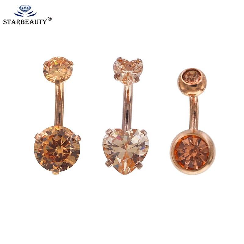 Starbeauty 1 pc Subiu Umbigo Anéis de Rosca Interna da Cor do ouro Duplo Cristal de Zircão Anel Umbigo Piercing Jóias Corpo
