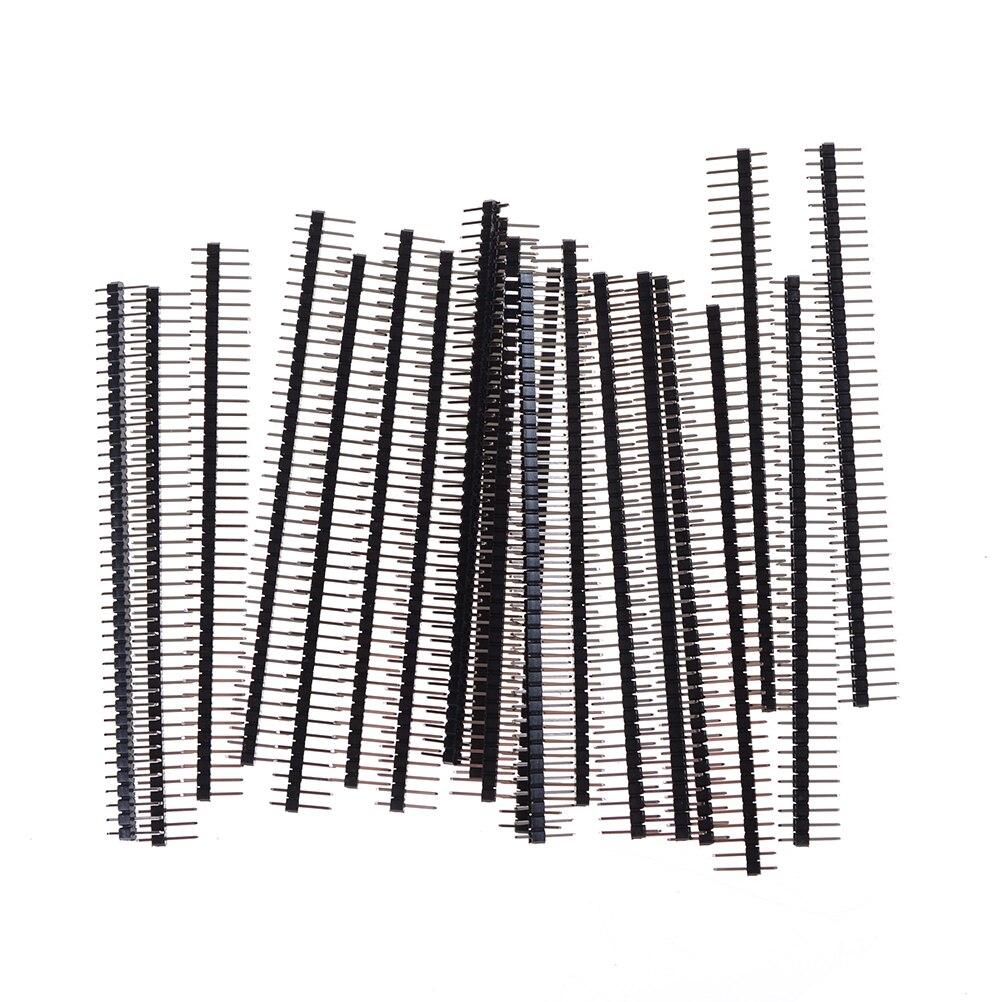 20 piezas conector macho único para Arduino 40 pines Módulo de placa de tira de conector pieza electrónica Elektronik 1x40 fila 2,54 rompible