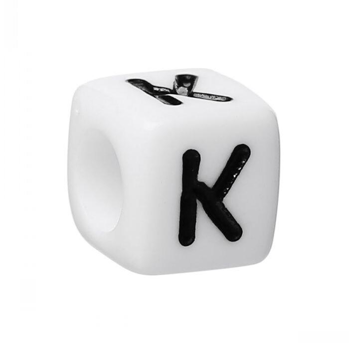 """Nuevas cuentas espaciadoras de acrílico cubo alfabeto/letra """"K"""" blanco alrededor de 6mm x 6mm(2/8 """"x 2/8""""), agujero aprox. 3,5mm,500 Uds."""