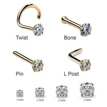 1Pc 1.5 2mm 2.5mm 20G  Zircon Nose Stud Steptum Nose Studs Hooks Bar Pin Nose Rings Body Piercing St
