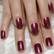 VioletRed Faux Ongles Gel UV brillant Faux Ongles taille moyenne presse sur manucure avec onglets adhésifs 24/sac
