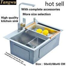 Fregadero de cocina hecho a mano, Envío Gratis, 3mm de espesor, superventas, grado alimenticio 304, ranura única de acero inoxidable, gama alta 50x4 3/60x4 5/68x45 CM