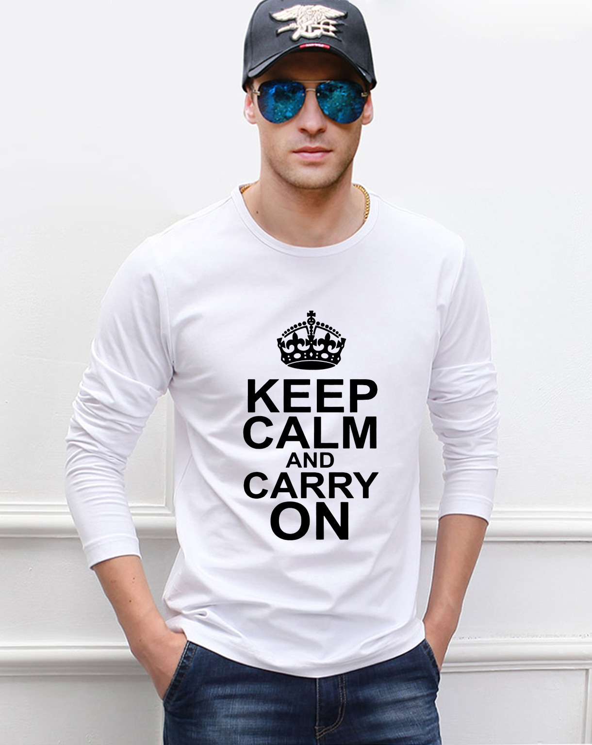 Camiseta de manga larga con estampado de Pokemon Keep Calm And Carry On, novedad de 2020, camiseta a la moda de otoño 100% de algodón de alta calidad para hombre