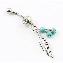 316L acier chirurgical 14 jauge feuille Dangle avec perles bleues nombril nombril bouton anneau Bar