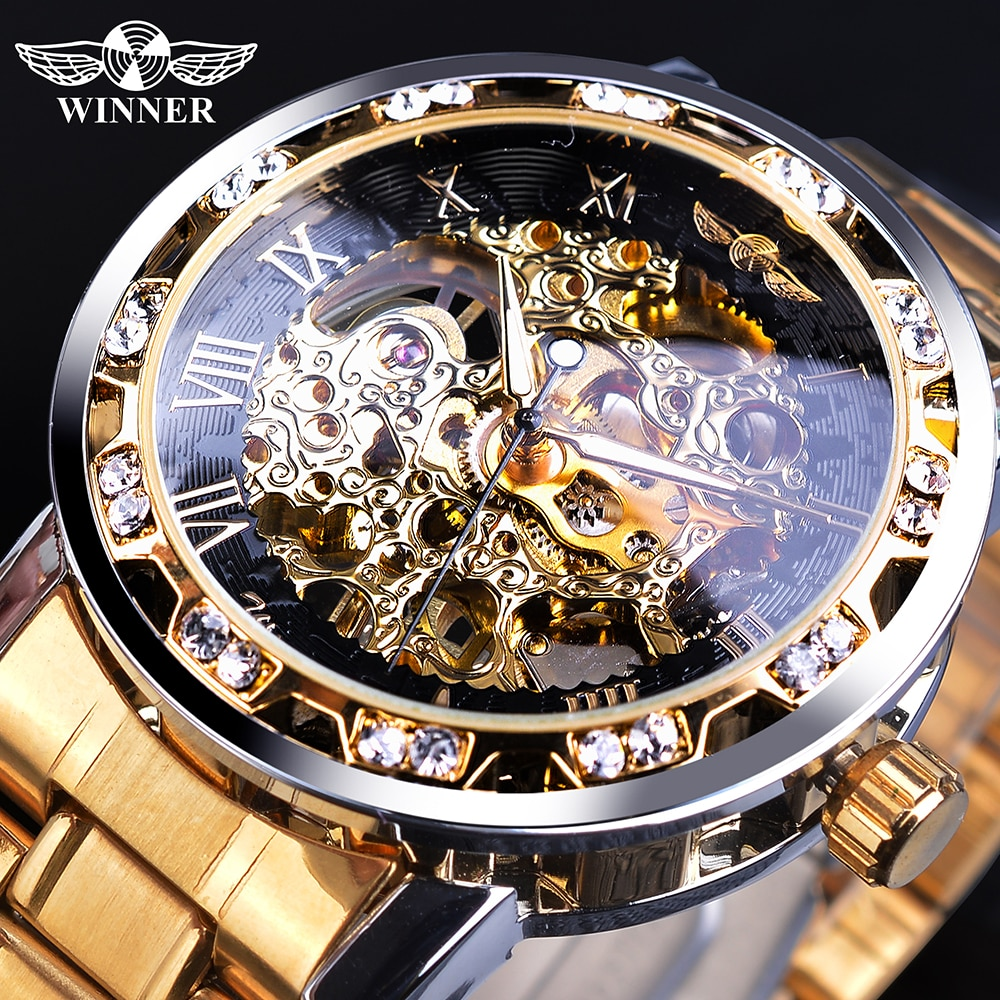 Часы Winner Golden, классические часы со стразами, римские аналоговые Мужские часы скелетоны, автоматические механические часы из нержавеющей стали