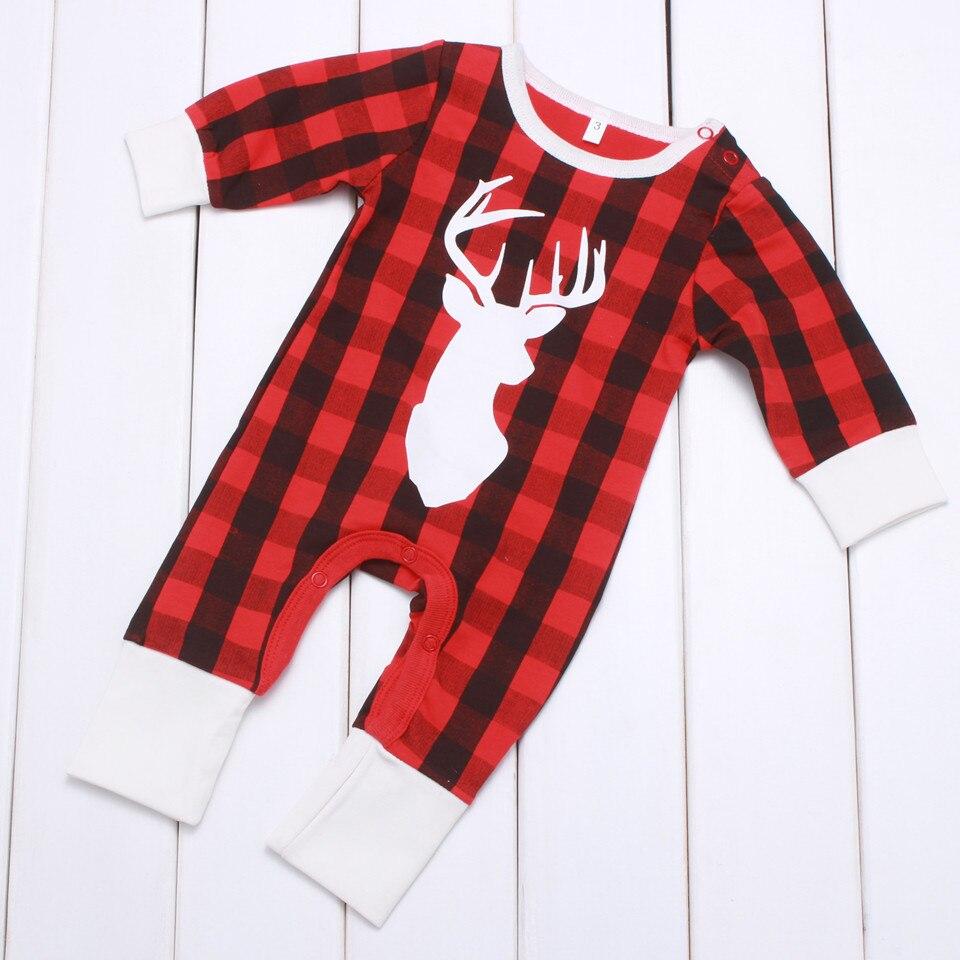 Baby Girls Boys Christmas Reindeer Romper Girl Boy Winter Xmas Red Plaid Jumpsuit Newborn Kids Christmas Day Pajamas 2020 New 50