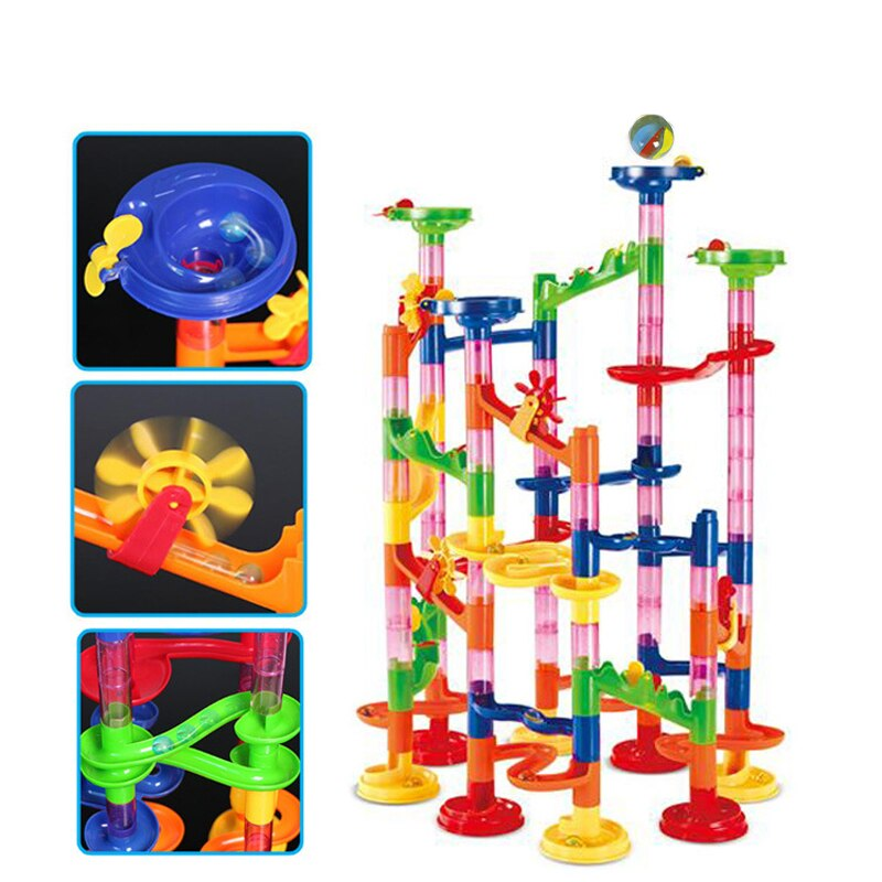 3D model Building block Construction Marble Run ball Roller coaster toy 105 PCS Marble Race Run Maze Ball Toys for children