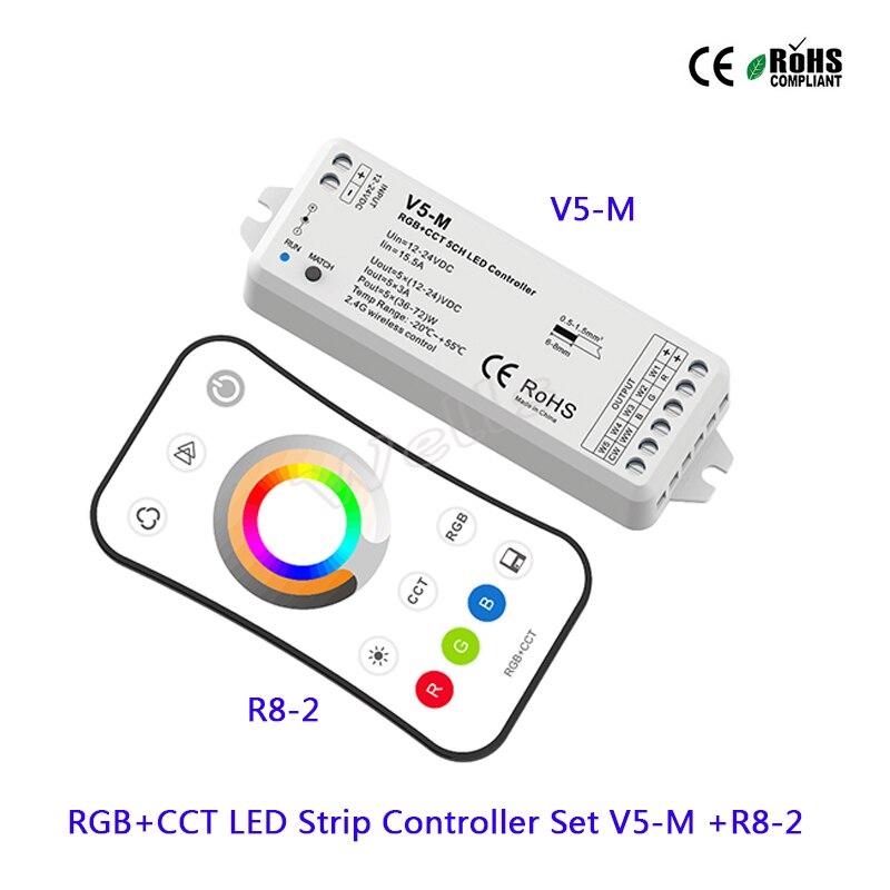 V5-M RGB+CCT 5CH LED Controller DC12-24V 15A led Receiver;R8-2 RGB+CCT 2.4G remote LED Strip Controller for led strip light