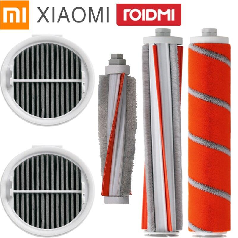 Escova de rolo macio + fibra carbono escova ácaros escova filtro hepa para xiaomi roidmi f8 peças kit aspirador manual conjunto