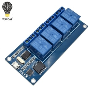 WAVGAT micro usb relay module 5v 4 channel relay module, relay control panel with indicator 4 way relay output usb interface