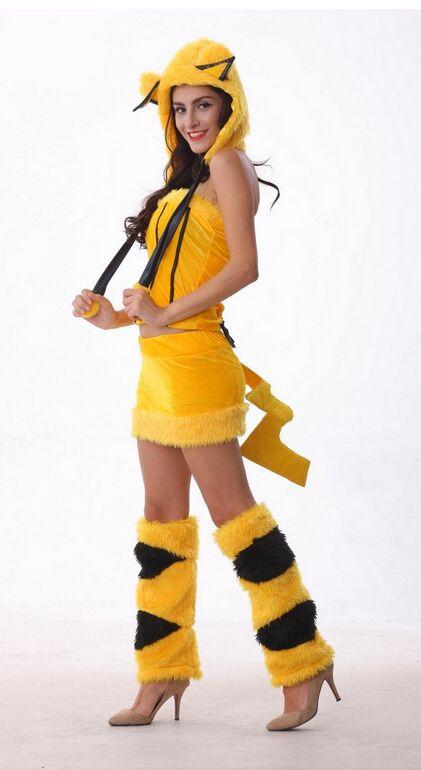 Disfraz amarillo de Pikachu para mujer, ropa de Cosplay de cuatro piezas, Disfraces para mujer, Disfraces sexys de personajes de dibujos animados CA906