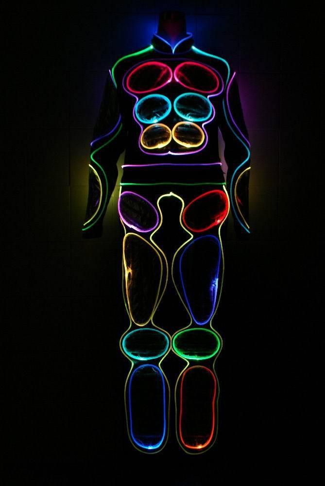 Бесплатная доставка DHL EL продукты светодиодные костюмы/Легкий Робот Костюм/EL провод/неоновая/светящаяся одежда/светящиеся костюмы