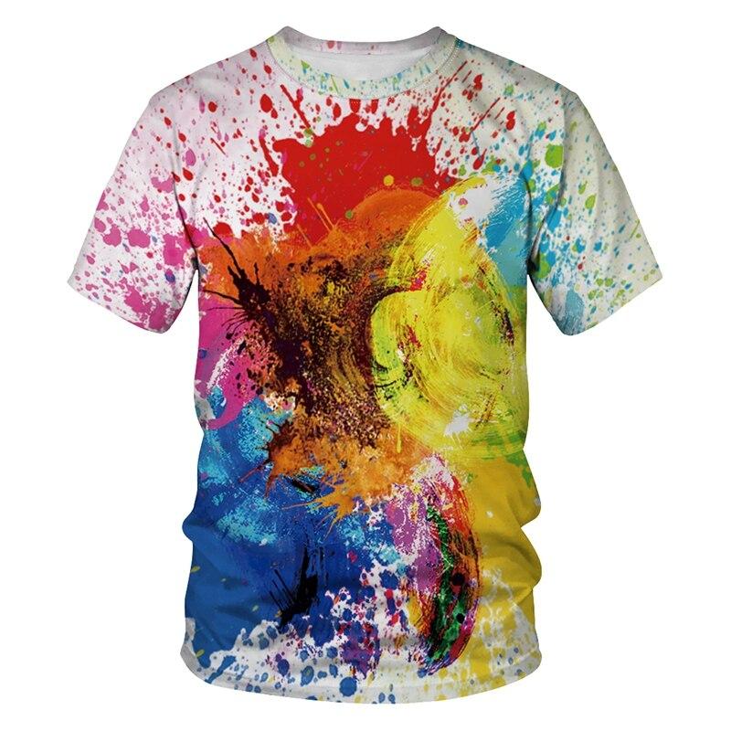 Camiseta Impressão ocasional Das Mulheres Dos Homens Tamanho EUR Verão 3d Camiseta Cor Pintura A Óleo de Manga Curta Unisex T-shirt Camiseta hombre