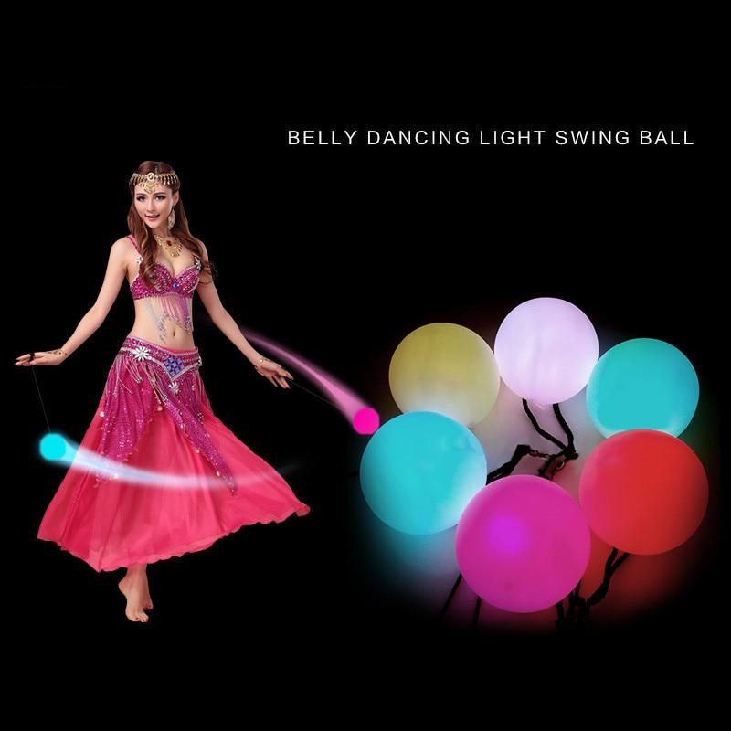 2 pçs bolas de dança do ventre led rgb brilho poi jogado bolas de luz para o nível de dança do ventre mão adereços palco desempenho acessórios