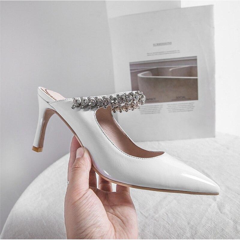 Nouvelle conception 8cm talons hauts cristal chaîne décoration femmes bref Mules femmes élégantes à lextérieur pantoufles chaussures