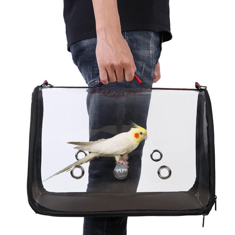 Novo 1 pc portátil oxford pano animal de estimação pássaro papagaio portador transparente respirável com zíper bolsa de viagem gaiola