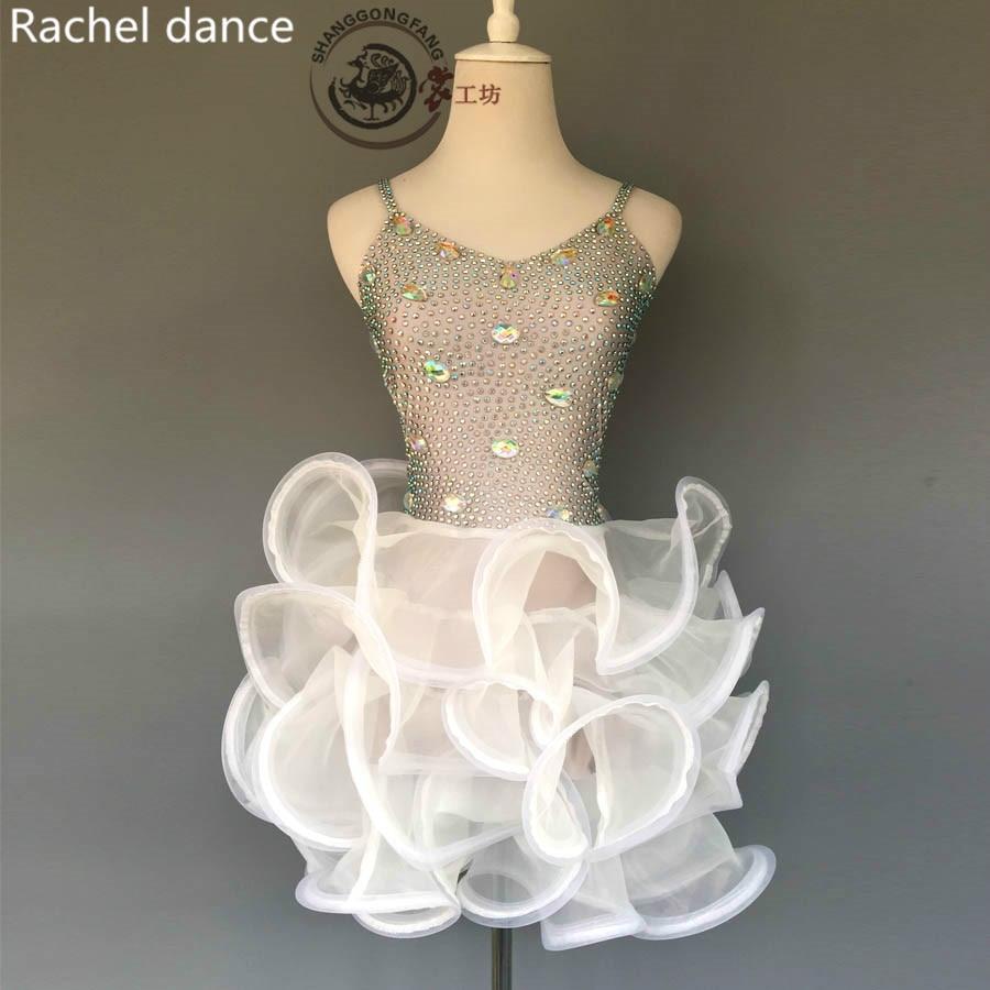 2017 Nuevo vestido de baile latino arnés de mujer espalda al aire sin mangas Rumba/Samba/salón de baile/Tango ropa de baile latino niños