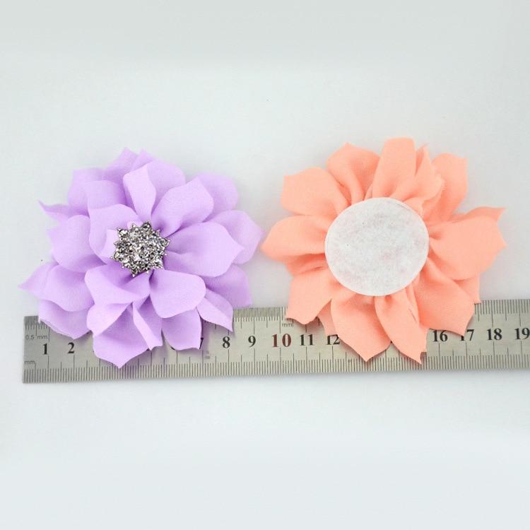 Lote de 100 unidades de accesorios para el cabello de tela de flor de loto con botón de estrás para niñas pequeñas, accesorios para el cabello DIY para decoración de fiestas de flores