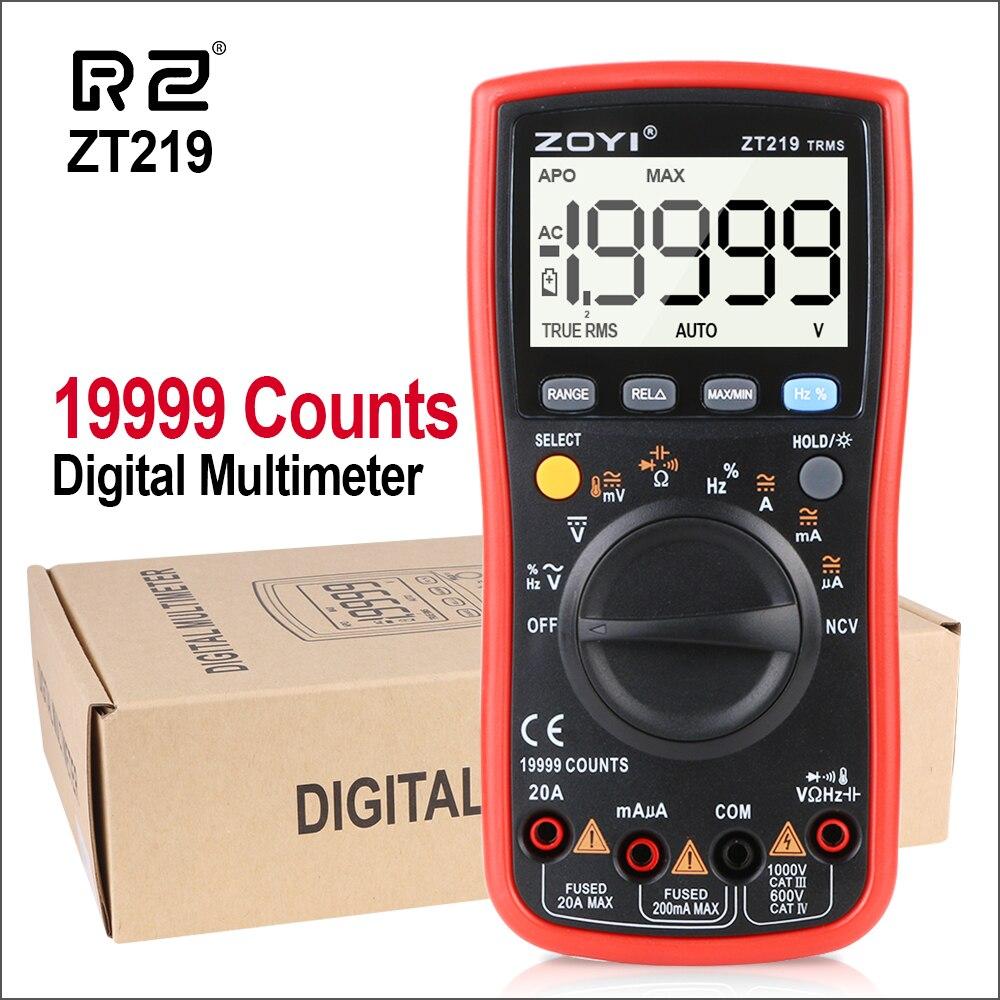 RZ мультиметр Ручной Автоматический цифровой мультиметр диапазон True-RMS 19999 отсчетов AC/DC напряжение тока Вольтметр Емкость Ом метр