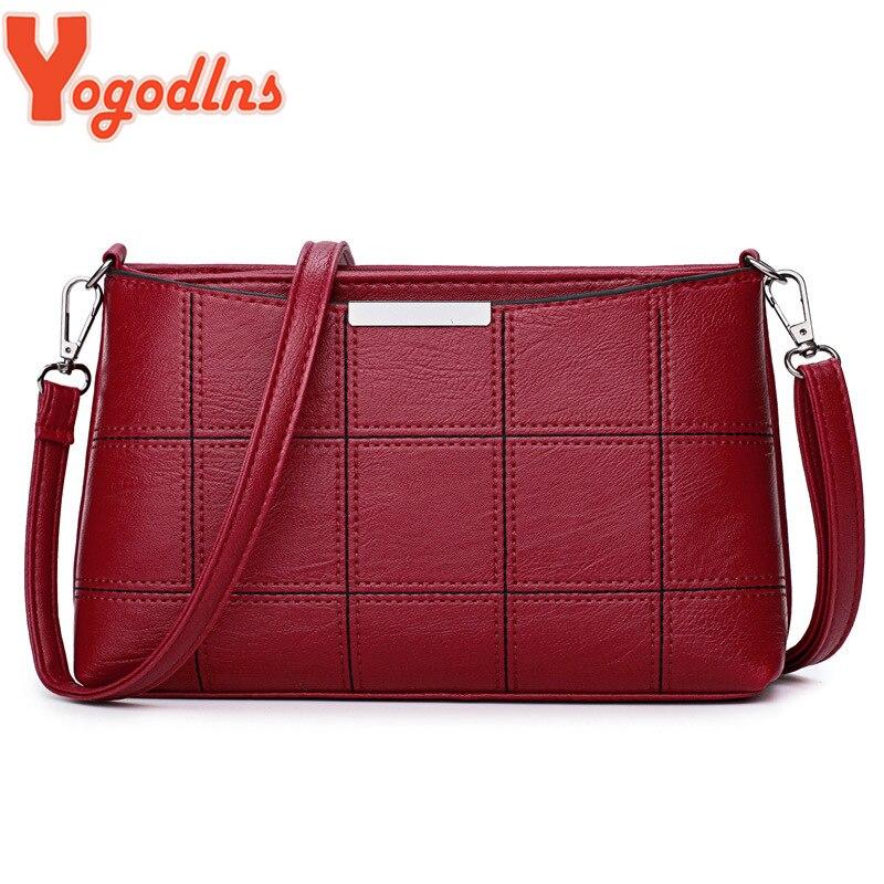 Yogodlns femmes petit sac à carreaux solide sacs à bandoulière en cuir PU femmes sac à bandoulière dames concepteur haute qualité rétro sac à main