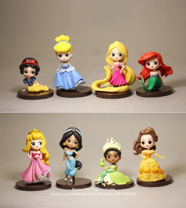 Disney princesa Cenicienta sirena Blancanieves dibujos animados 6-8cm 8 unids/set figura de acción Anime minicolección figurita juguete modelo regalo