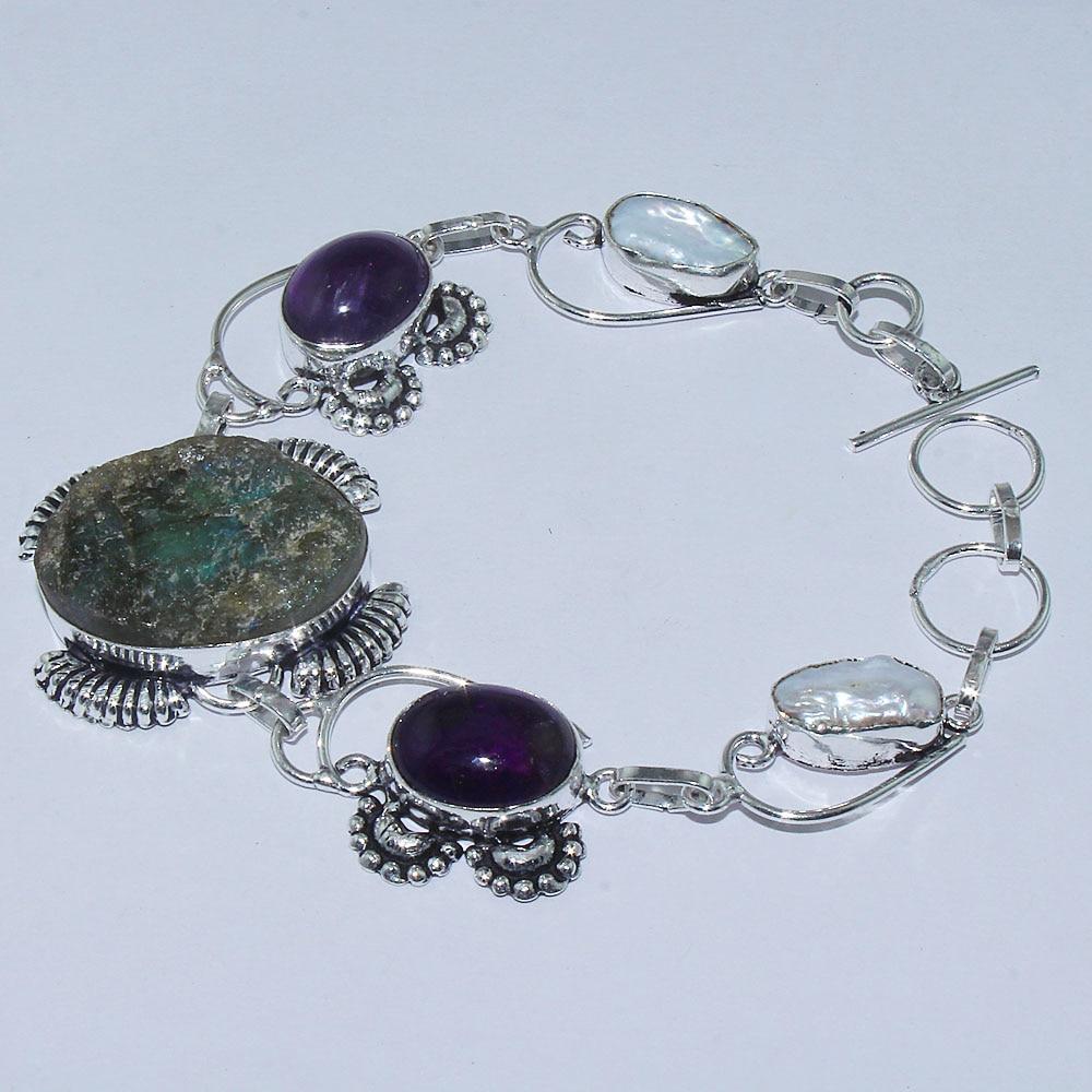 Druzy & Biwa perlas y amatistas pulsera de plata superpuesta sobre cobre, 23,5 cm, B0973