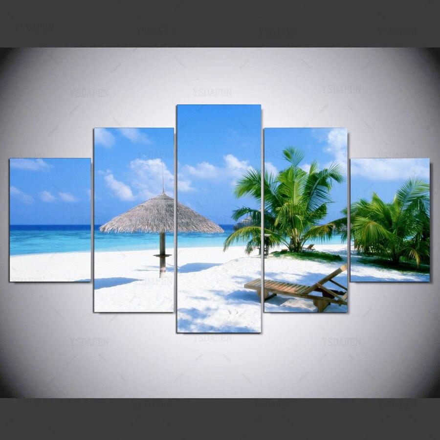 5 painel hd Pacífica Caribbean Beach Art print emoldurado pinturas para parede da sala de arte da parede da lona imagem ny-1188