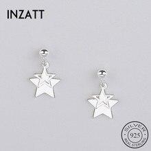 INZATT réel 925 en argent Sterling minimaliste étoile creuse balancent boucles doreilles bijoux de mode Pendientes Mujer Moda cadeau à la mode