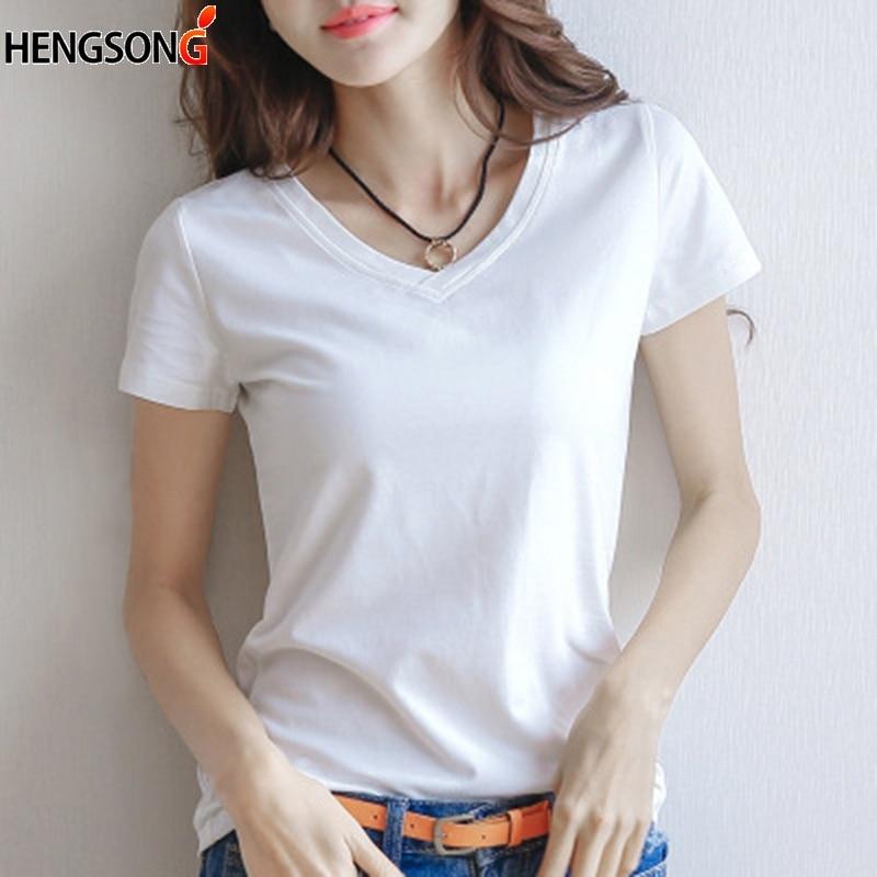Camiseta básica de verano 2019 para mujer, Camiseta ajustada con cuello en V, camiseta informal de manga corta negra/blanca, camiseta femenina