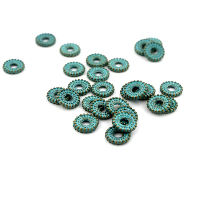 100 tibetano verde espaciador suelto cuentas de Metal para la fabricación de joyas Diy pulsera collar encontrar accesorios venta al por mayor suministro