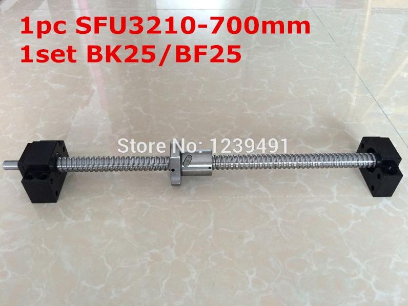 لولب كروي SFU3210 - 700 مللي متر مع قطع تحكم CNC ، BK25/BF25