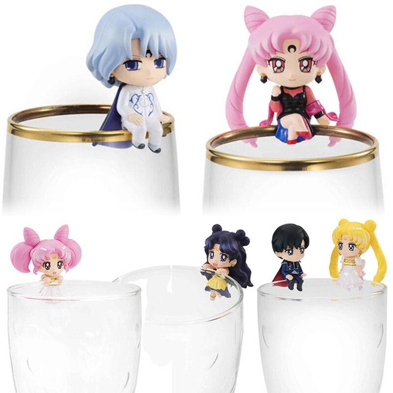 Sailor Moon 8pcs/set Luna Hino Rei Mini Action Figure Chiba Mamoru Doll PVC figure Toys Brinquedos Anime 5CM